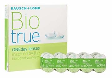 Bausch und Lomb Biotrue ONEday Tageslinsen, sphärische Kontaktlinsen, weich, 90 Stück BC 8.6 mm / DIA 14.2 / -2.5 Dioptrien - 1