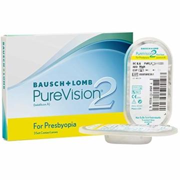 Bausch und Lomb PureVision 2 for Presbyopia Monatslinsen, sehr dünne Gleitsicht-Kontaktlinsen, weich, 3 Stück BC 8.6 mm / DIA 14 / 1.25 Dioptrien / ADD Low - 2