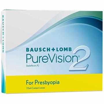 Bausch und Lomb PureVision 2 for Presbyopia Monatslinsen, sehr dünne Gleitsicht-Kontaktlinsen, weich, 3 Stück BC 8.6 mm / DIA 14 / 1.25 Dioptrien / ADD Low - 3