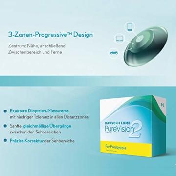 Bausch und Lomb PureVision 2 for Presbyopia Monatslinsen, sehr dünne Gleitsicht-Kontaktlinsen, weich, 3 Stück BC 8.6 mm / DIA 14 / 1.25 Dioptrien / ADD Low - 4