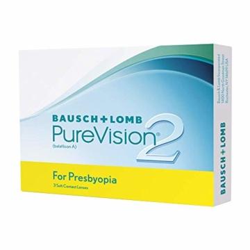 Bausch und Lomb PureVision 2 for Presbyopia Monatslinsen, sehr dünne Gleitsicht-Kontaktlinsen, weich, 3 Stück BC 8.6 mm / DIA 14 / 1.25 Dioptrien / ADD Low - 9