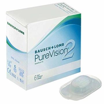 Bausch und Lomb PureVision 2 Monatslinsen, sehr dünne sphärische Kontaktlinsen, weich, 6 Stück BC 8.6 mm / DIA 14 / -1.25 Dioptrien - 2