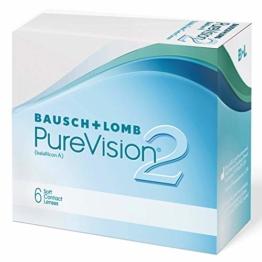 Bausch und Lomb PureVision 2 Monatslinsen, sehr dünne sphärische Kontaktlinsen, weich, 6 Stück BC 8.6 mm / DIA 14 / -1.25 Dioptrien - 1