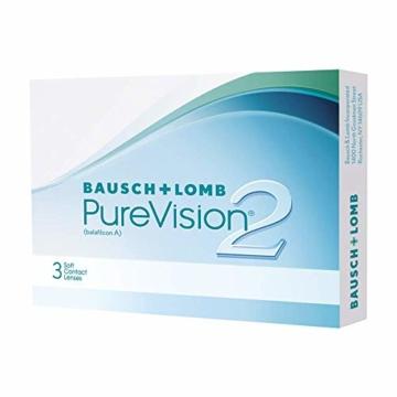 Bausch und Lomb PureVision 2 Monatslinsen, sehr dünne sphärische Kontaktlinsen, weich, 6 Stück BC 8.6 mm / DIA 14 / -1.25 Dioptrien - 9