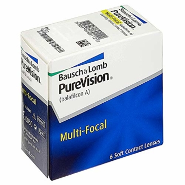 Bausch und Lomb Purevision Multifocal Monatslinsen, Gleitsicht-Kontaktlinsen, weich, 6 Stück BC 8.6 mm / DIA 14 / -5 Dioptrien / ADD High - 2