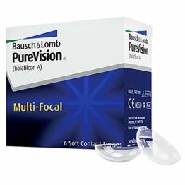Bausch und Lomb Purevision Multifocal Monatslinsen, Gleitsicht-Kontaktlinsen, weich, 6 Stück BC 8.6 mm / DIA 14 / -5 Dioptrien / ADD High - 1