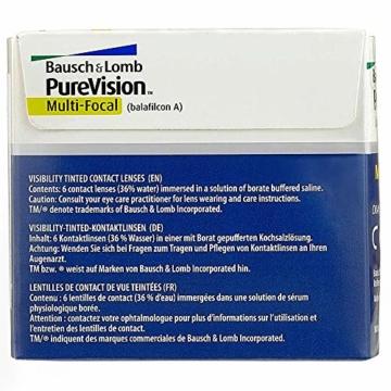 Bausch und Lomb Purevision Multifocal Monatslinsen, Gleitsicht-Kontaktlinsen, weich, 6 Stück BC 8.6 mm / DIA 14 / -5 Dioptrien / ADD High - 7