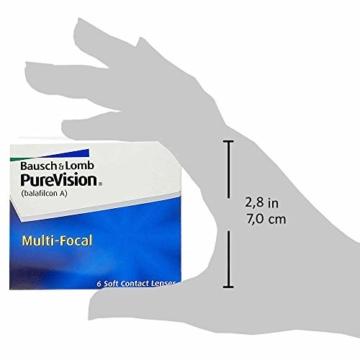 Bausch und Lomb Purevision Multifocal Monatslinsen, Gleitsicht-Kontaktlinsen, weich, 6 Stück BC 8.6 mm / DIA 14 / -5 Dioptrien / ADD High - 8