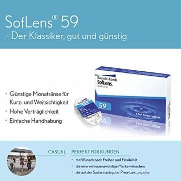 Bausch und Lomb SofLens 59 Monatslinsen, sphärische Kontaktlinsen, weich, 6 Stück BC 8.6 mm / DIA 14.2 / -2.25 Dioptrien - 7