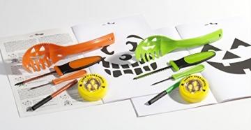 Brauns Heitmann 7008 14-teiliges Deluxe Kürbis Schnitzset mit LED-Licht, Löffel, 2 Messer, Stift, 9 Vorlagen, grün / orange -
