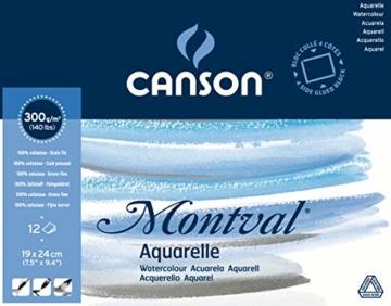 "Canson 200006533 AQ Montval fein Aquarelle, 300 g/qm, 12 Blatt pro Block""rundum geleimt"", 19 x 24 cm, weiß - 1"