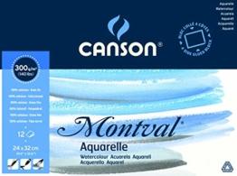 Canson 200006544 Montval Aquarellpapier, 24 x 32 cm, naturweiß - 1