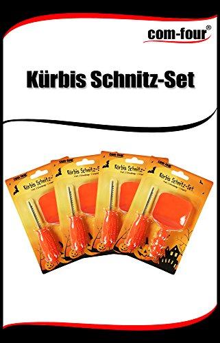 COM-FOUR® 8-teiliges Kürbis Schnitz-Set zum Aushöhlen von Kürbisen (Familien-Edition: 4x Schneidesäge, 4x Schaufel) -
