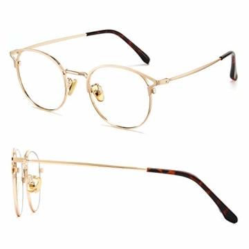 Cyxus Blaulichtfilter Brille Damen mit Katzenauge, Rund Mode Vintage Brille Ohne Stärke, Anti Schädliches Blaulicht UV400 von Handy, Computer,Gold - 2