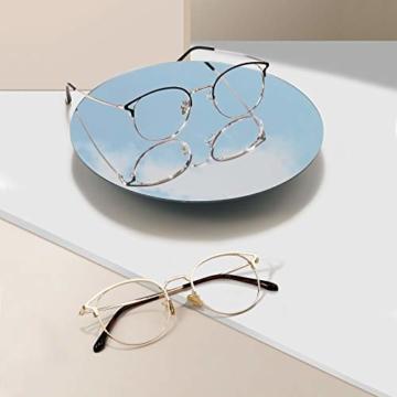 Cyxus Blaulichtfilter Brille Damen mit Katzenauge, Rund Mode Vintage Brille Ohne Stärke, Anti Schädliches Blaulicht UV400 von Handy, Computer,Gold - 3