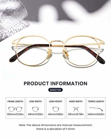 Cyxus Blaulichtfilter Brille Damen mit Katzenauge, Rund Mode Vintage Brille Ohne Stärke, Anti Schädliches Blaulicht UV400 von Handy, Computer,Gold - 4