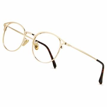 Cyxus Blaulichtfilter Brille Damen mit Katzenauge, Rund Mode Vintage Brille Ohne Stärke, Anti Schädliches Blaulicht UV400 von Handy, Computer,Gold - 1