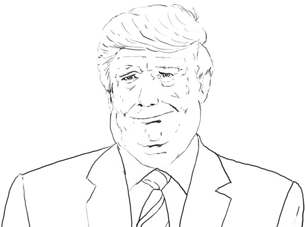 Donald Trump Vorzeichnung