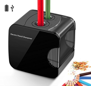Elektrischer Anspitzer, Angetrieben mit USB oder Batterie arbeitet bewältigt Schwerlast automatischer elektrischer Anspitzer für Nr. 2 Stifte und Buntstifte - 1