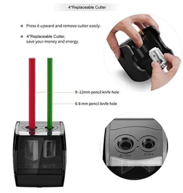 Elektrischer Anspitzer, Angetrieben mit USB oder Batterie arbeitet bewältigt Schwerlast automatischer elektrischer Anspitzer für Nr. 2 Stifte und Buntstifte - 5