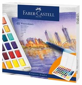 Faber-Castell 169748 Aquarellfarben in Näpfchen, mit Mischpalette und Wassertankpinsel, 48er Etui, multi, 58 - 1