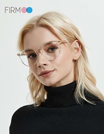Firmoo Blaulichtfilter Brille für Damen Herren ohne Sehstärke Anti Blaulicht UV Schutzbrille TR Vollrandbrille gegen Augenbelastung Entspiegelte Nerdbrille (Transparent) - 2