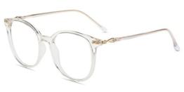 Firmoo Blaulichtfilter Brille für Damen Herren ohne Sehstärke Anti Blaulicht UV Schutzbrille TR Vollrandbrille gegen Augenbelastung Entspiegelte Nerdbrille (Transparent) - 1