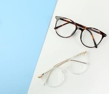 Firmoo Blaulichtfilter Brille für Damen Herren ohne Sehstärke Anti Blaulicht UV Schutzbrille TR Vollrandbrille gegen Augenbelastung Entspiegelte Nerdbrille (Transparent) - 4