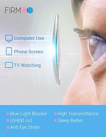 Firmoo Blaulichtfilter Brille für Damen Herren ohne Sehstärke Anti Blaulicht UV Schutzbrille TR Vollrandbrille gegen Augenbelastung Entspiegelte Nerdbrille (Transparent) - 6