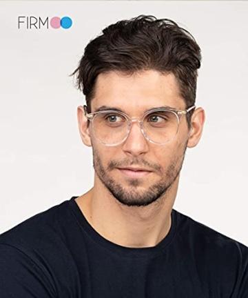 Firmoo Blaulichtfilter Brille für Damen Herren ohne Sehstärke Anti Blaulicht UV Schutzbrille TR Vollrandbrille gegen Augenbelastung Entspiegelte Nerdbrille (Transparent) - 8