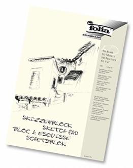folia 8303 - Skizzenblock, DIN A3, 120 g/qm, weiß, 50 Blatt - hochfeines, weißes Zeichenpapier, chlorfrei - 1