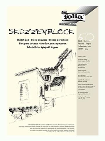 folia 8304 - Skizzenblock, DIN A4, 120 g/qm, weiß, 50 Blatt - hochfeines, weißes Zeichenpapier, chlorfrei - 1