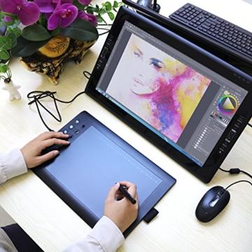GAOMON M106K - 10 x 6 Zoll Profi Grafiktablett mit 12+16 Programmierender Tasten und Kabellosem Stift - 3
