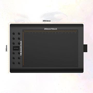GAOMON M106K - 10 x 6 Zoll Profi Grafiktablett mit 12+16 Programmierender Tasten und Kabellosem Stift - 4