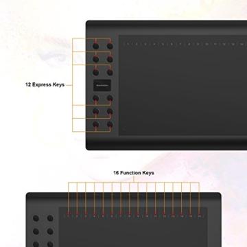GAOMON M106K - 10 x 6 Zoll Profi Grafiktablett mit 12+16 Programmierender Tasten und Kabellosem Stift - 5