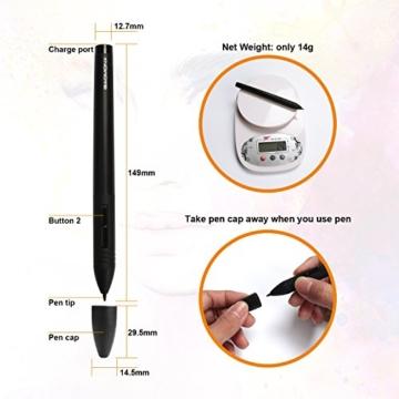 GAOMON M106K - 10 x 6 Zoll Profi Grafiktablett mit 12+16 Programmierender Tasten und Kabellosem Stift - 9