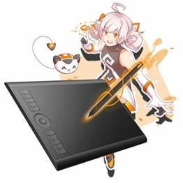 GAOMON M10K 2018 Version Stifttablett -10 x 6,25 Zoll Grafiktablett mit 8192 Druckempfindlichkeitsstufe Batterieloser Stift - 1