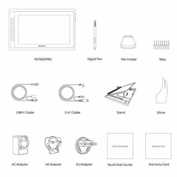 GAOMON PD156PRO 15,6 Zoll laminierter Grafik-Display mit 88% NTSC Farbraum (Dial Funktion,Entspiegelungsbeschichtung, batterielosem Stift mit Neigungserkennung, kompatibel mit Windows und Mac) - 8