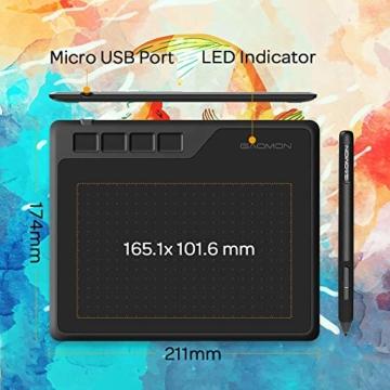 GAOMON S620 6,5 x 4 Zoll (Diagonale: 7,6 Zoll) Grafiktablett (mit 4 Express Tasten) mit batterielosem Stift - 5