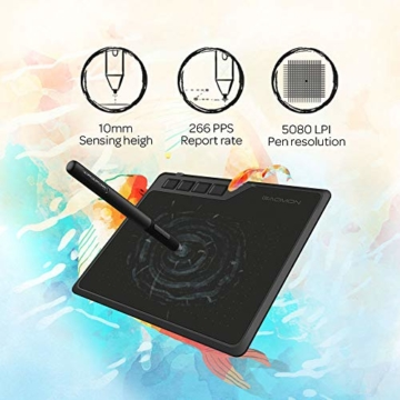 GAOMON S620 6,5 x 4 Zoll (Diagonale: 7,6 Zoll) Grafiktablett (mit 4 Express Tasten) mit batterielosem Stift - 8