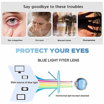 GIFIORE Runde Blaulichtfilter Brille Damen, Klassische Runde Computerbrillen,ohne Sehstärke, Blockieren Blaue Licht von PC, TV und Handy - 2