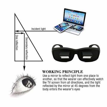 Gobesty Horizontal Brille, Horizontales Lazy Glasses für Entspannte Positionen im Bett und Sofa Lazy Readers (Schwarz) - 5