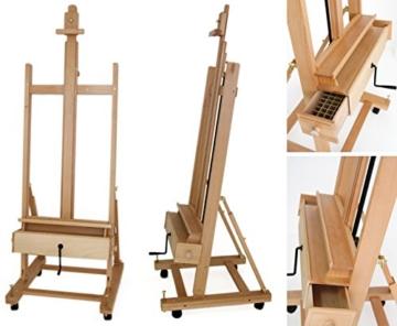 Große Studio Staffelei mit Kurbel, FSC® Buchenholz, für Keilrahmen bis 210cm, Profimodell Kurbelstaffelei - 2