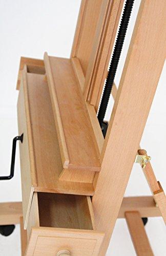 Große Studio Staffelei mit Kurbel, FSC® Buchenholz, für Keilrahmen bis 210cm, Profimodell Kurbelstaffelei - 4