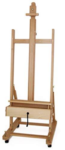 Große Studio Staffelei mit Kurbel, FSC® Buchenholz, für Keilrahmen bis 210cm, Profimodell Kurbelstaffelei - 1