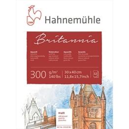 Hahnemühle Aquarellkarton Britannia, matt, 300 g/m², 30 x 40 cm, 12 Blatt - 1