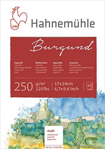 Hahnemühle Aquarellkarton Burgund, matt, 250 g/m², 17 x 24 cm, 20 Blatt - 1
