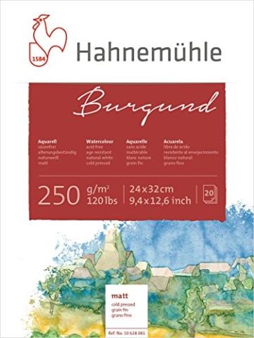 Hahnemühle Aquarellkarton Burgund, matt, 250 g/m², 24 x 32 cm, 20 Blatt - 1