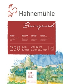 Hahnemühle Aquarellkarton Burgund, matt, 250 g/m², 30 x 40 cm, 20 Blatt - 1