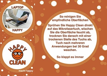HAPPY CLEAN 1-Jahres Paket   Brillenreiniger   Spezialreiniger für Kunststoffgläser, entspiegelte Gläser und Oberflächen   Streifenfreie Sauberkeit   Silikon- und Alkoholfrei   100 Prozent Biobasis - 6